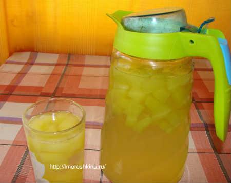 Компот из кабачков со вкусом ананаса_рецепт