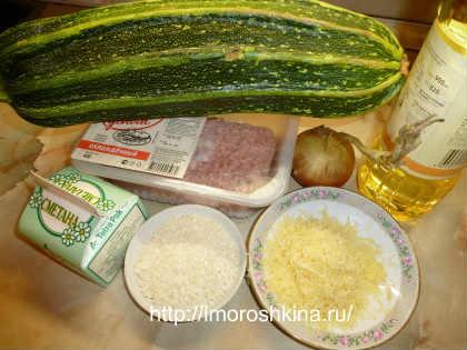 Кабачки фаршированные фаршем, запеченные в духовке_продукты