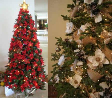 Как украсить елку на Новый год 2016_украшенная цветами