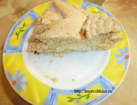 Королевская ватрушка с творогом в духовке рецепт_кусок пирога