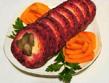 Селедка под шубой: классический рецепт слои, последовательность_вегетарианская_в виде рулета
