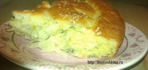 Пирог с капустой на скорую руку рецепт_кусок
