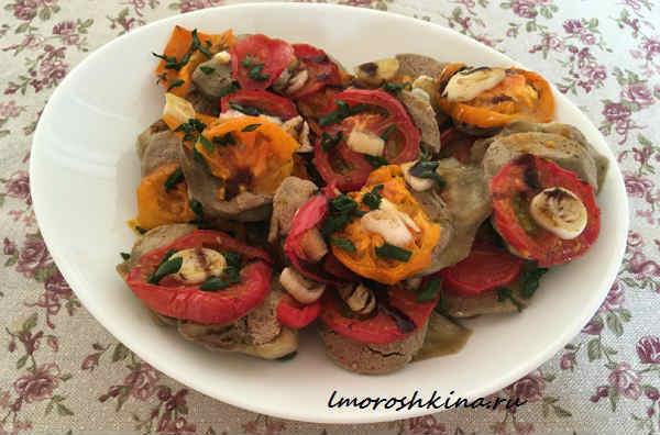 Баклажаны запеченныев духовке с помидорами